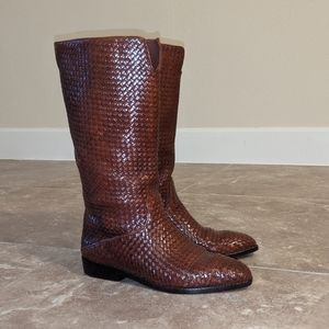 Cole Haan Brown Leather Textured Boots sz 7
